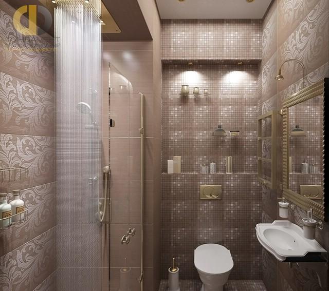 Отделка ванной комнаты плиткой: фото. Дизайн санузла с душевой кабиной