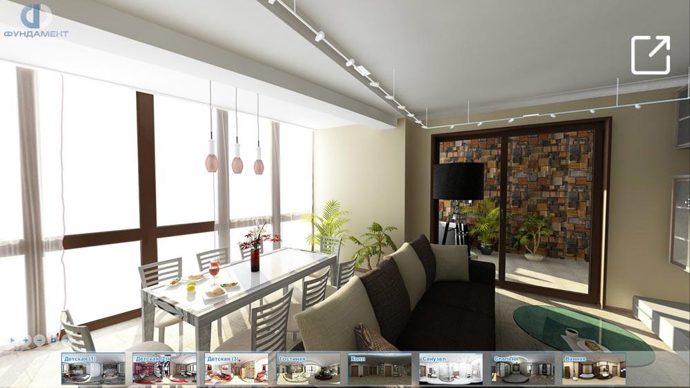 Дизайн интерьера современной квартиры с зимним садом в 3d – ул. Суворовская