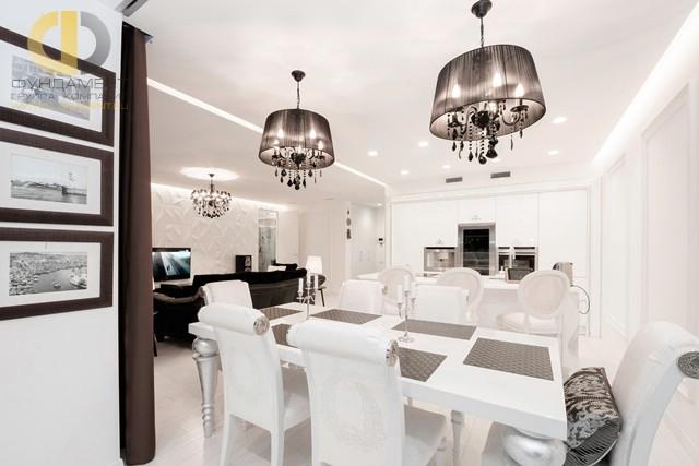 Красивые квартиры. Фото интерьера кухни-столовой на Нижегородской улице