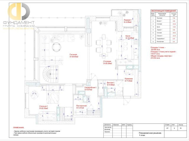 Планировочное решение первого этажа 2-уровневой квартиры 213 кв. м