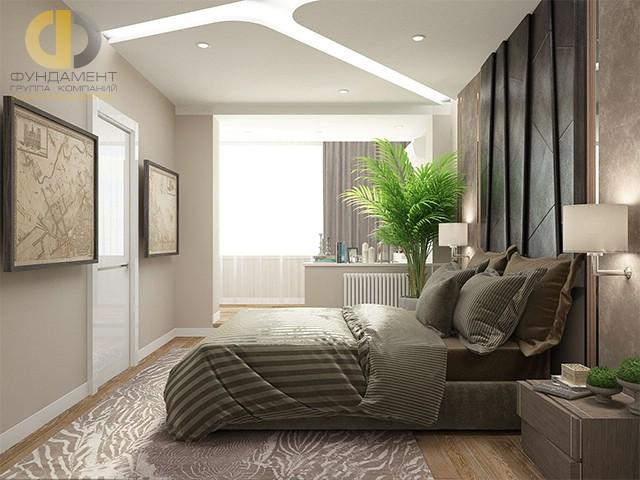 Дизайн спальни 15 кв. м в современном стиле. Фото интерьера с балконом