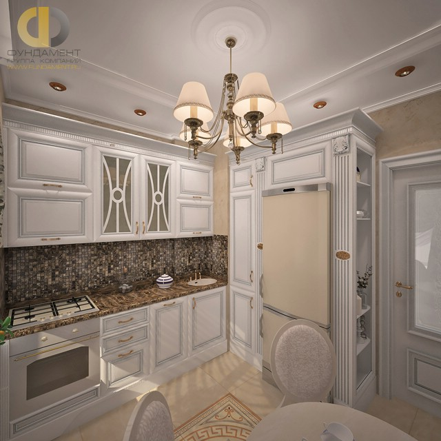 Интерьер кухни в классическом стиле с патинированной мебелью