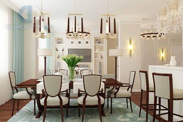 Кухня-столовая с барной стойкой и деревянной мебелью