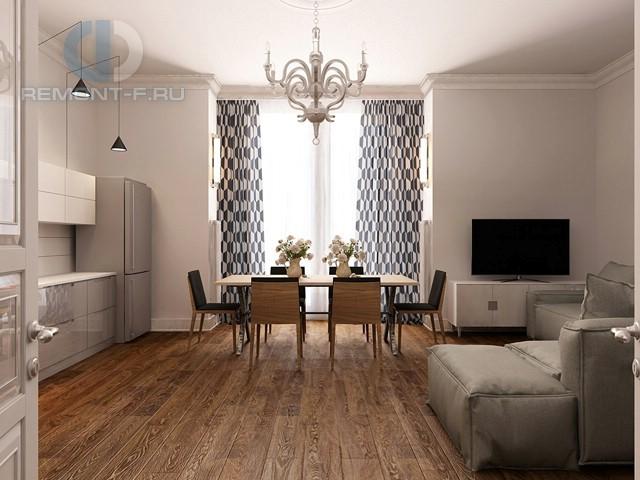 Дизайн кухни-гостиной 37 кв. м в 3-комнатной квартире в стиле контемпорари