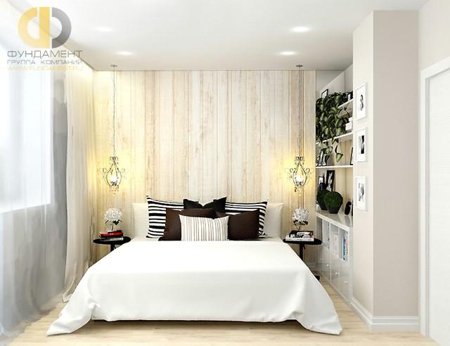 Современные идеи в дизайне спальни с деревянной стеной. Фото 2016