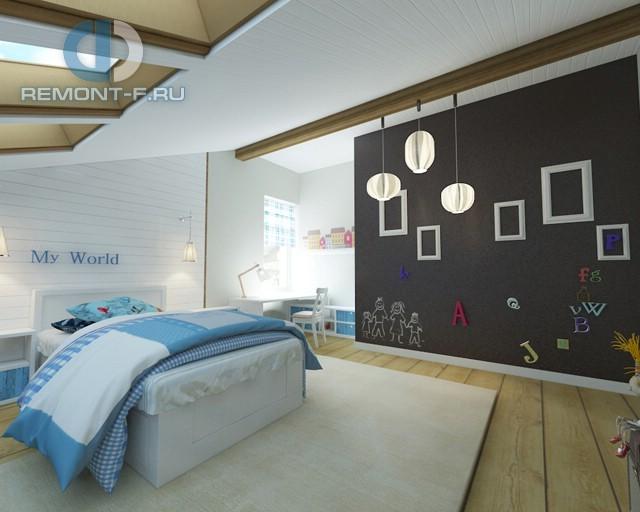 Дизайн детской для мальчика 15 кв. м с грифельной доской. Фото интерьера