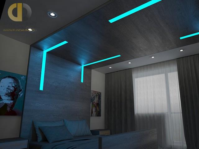 Современные идеи в дизайне спальни с цветными светодиодами. Фото 2016