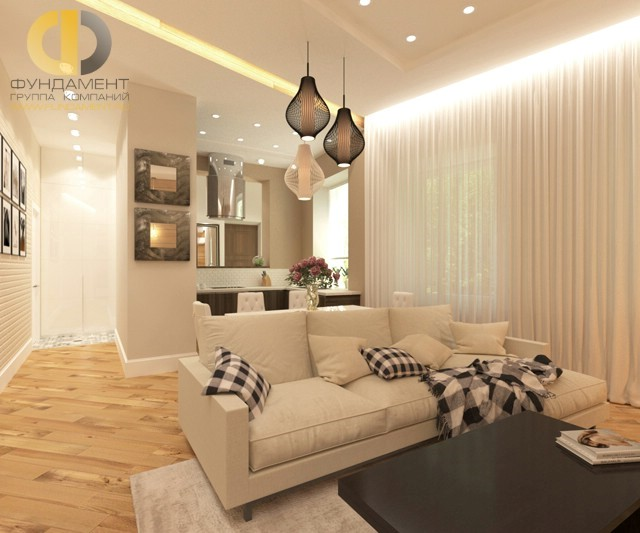 Интерьер гостиной, совмещенной с кухней, 28 кв. м в 3-комнатной квартире в скандинавском стиле