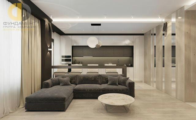 Интерьер кухни-гостиной 32 кв. м в стиле минимализм
