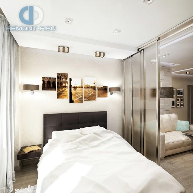 Дизайн спальни в однокомнатной квартире 40 кв. м. Фото интерьера