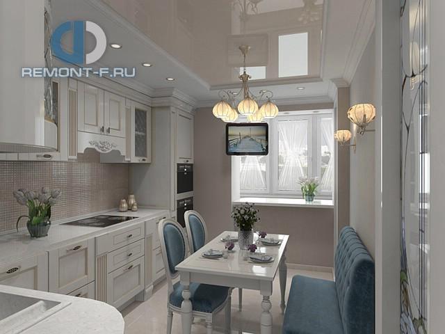 Интерьер неоклассической кухни с натяжным потолком