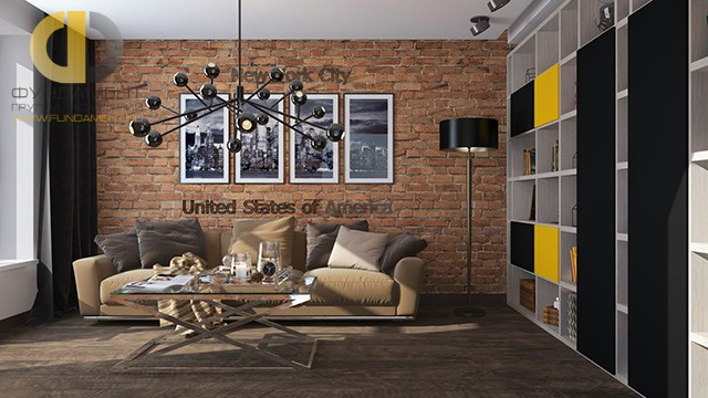 Дизайн двухкомнатной квартиры 60 кв. м в стиле лофт в Мытищах