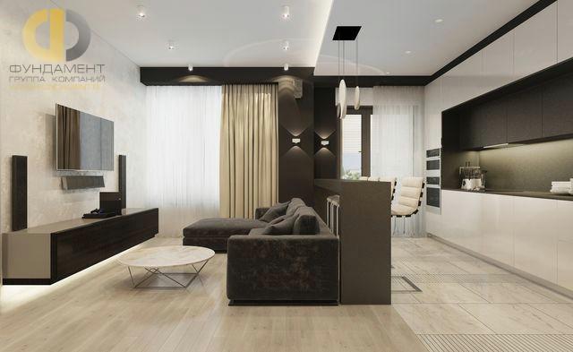 Современные идеи дизайна гостиной с кухней. Фото 2016