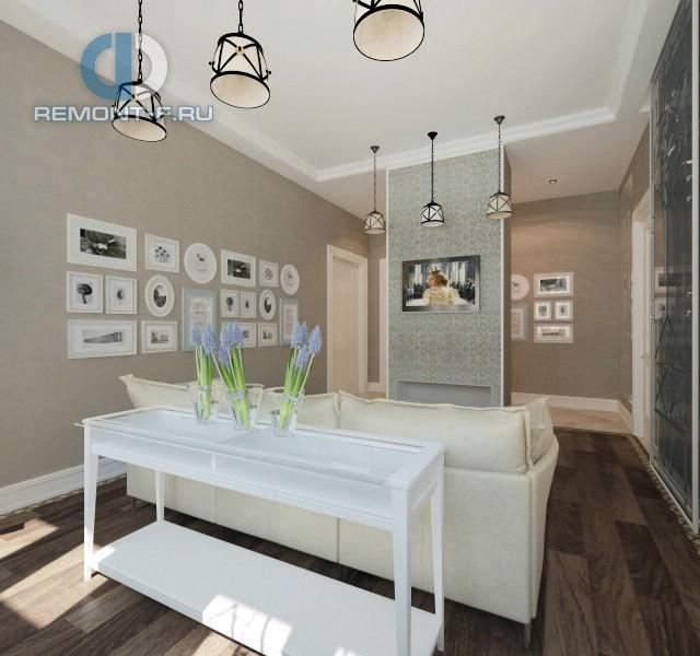Светлая гостиная в стиле прованс в пятикомнатной квартире на ул. Марьиной рощи