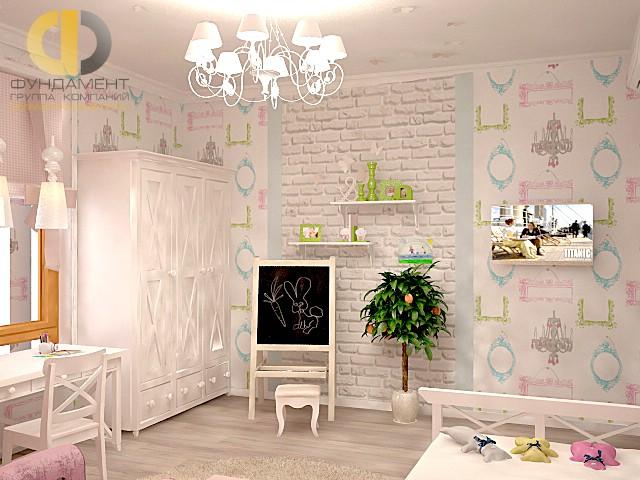 Дизайн детской комнаты для девочки. Фото интерьера с кирпичной кладкой