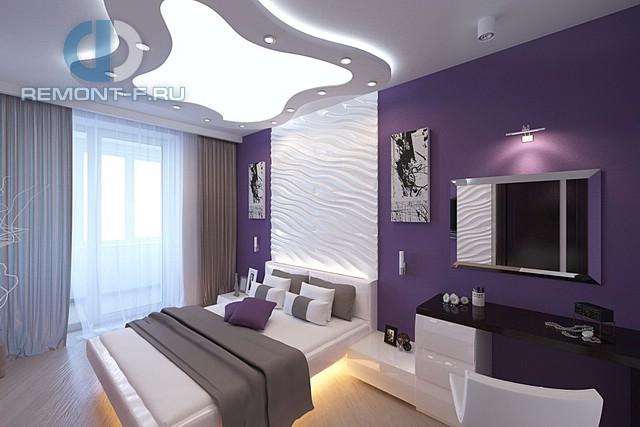 Современные идеи в дизайне фиолетовой спальни. Фото 2016