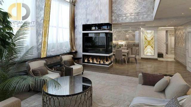 Дизайн кухни-гостиной в двухуровневой квартире в стиле арт-деко. Фото интерьера