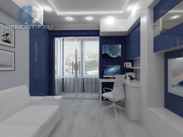 Интерьер кабинета в 3-комнатной квартире на ул. Ярцевской