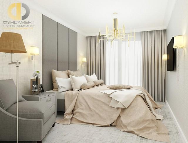 Дизайн спальни 15 кв. м в современном стиле. Фото интерьера в бежевых тонах