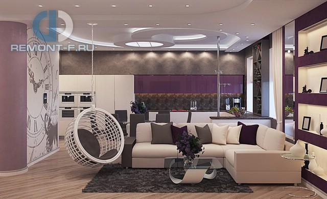 Современные идеи дизайна гостиной. Фото квартиры на Вавилова