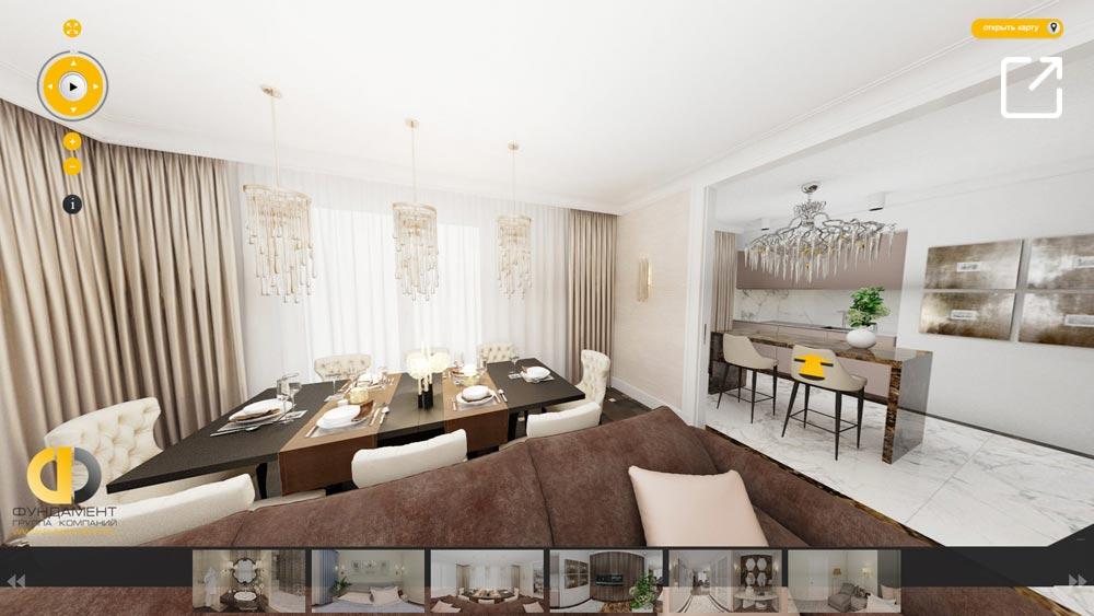 Дизайн интерьера квартиры в стиле арт-деко в 3d