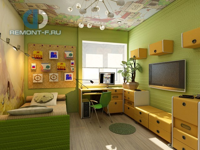 Детская 10 кв. м для мальчика в желтых и зеленых тонах: фото интерьера