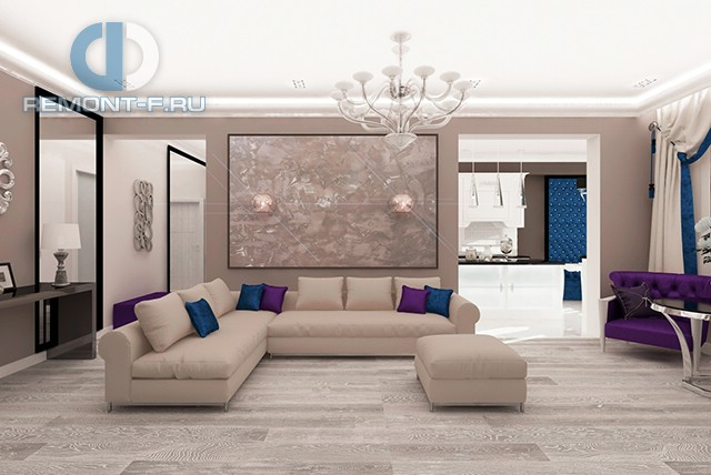 Современные идеи дизайна гостиной. Фото квартиры в Красногорске