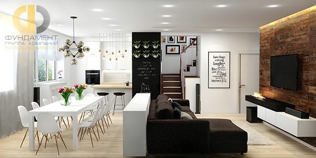 Интерьер кухни-гостиной 30 кв. м в современном стиле в частном доме с мансардой