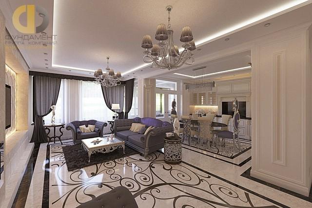 Дизайн кухни-гостиной квартире в стиле арт-деко. Фото интерьера