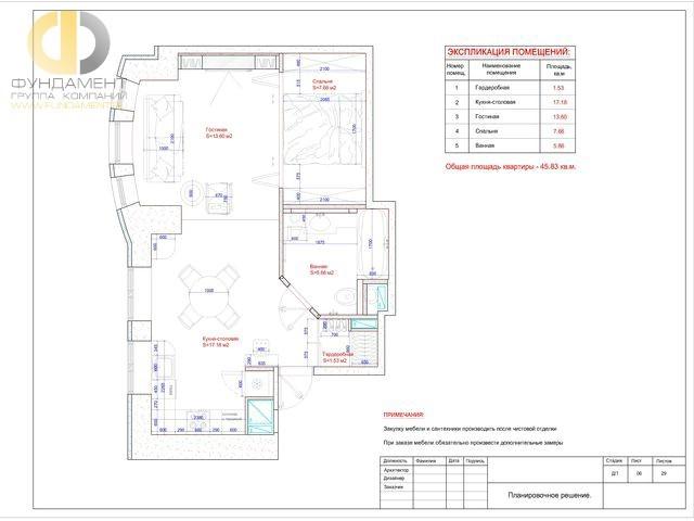 Рабочие чертежи дизайн-проекта 1-комнатной квартиры 46 кв. м. Планировочное решение
