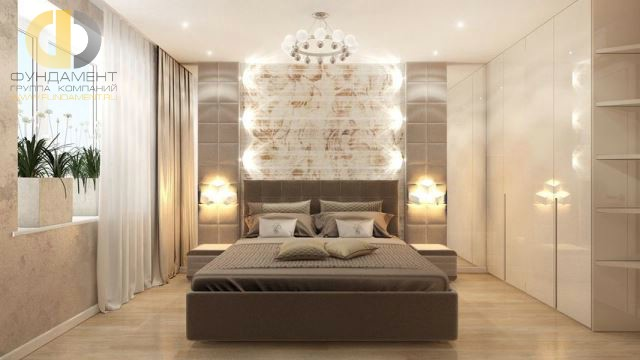 Современные идеи в дизайне спальни в бежевых тонах. Фото 2017
