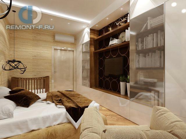 Дизайн ТВ-зоны с комбинированным стеллажом