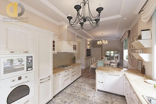Дизайн кухни-столовой в коттедже