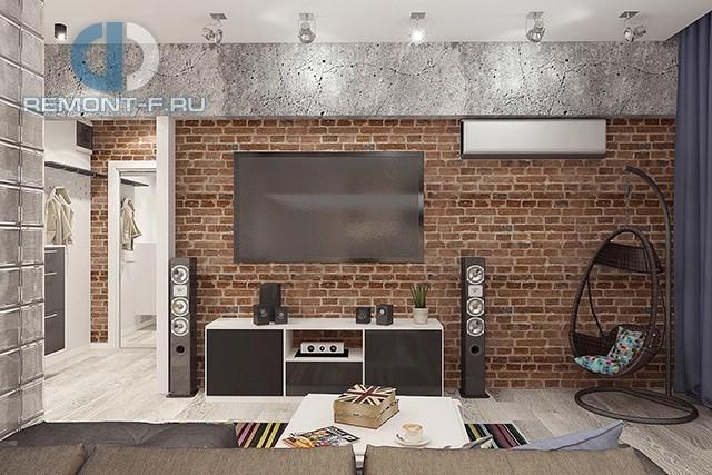 Дизайн гостиной в стиле лофт в 3-комнатной квартире