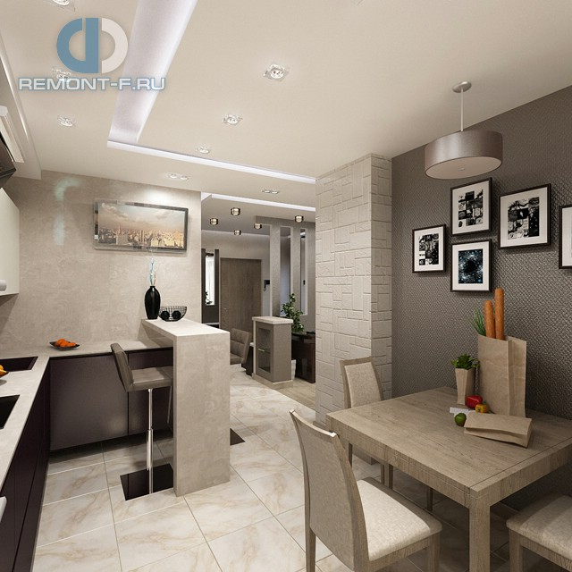 Дизайн кухни в однокомнатной квартире. Фото интерьера