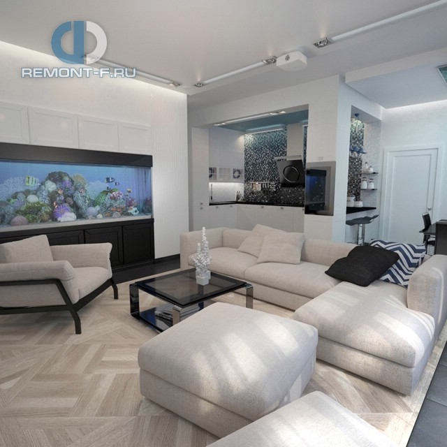 Дизайн современной гостиной в 4-комнатной квартире на ул. Маломосковской