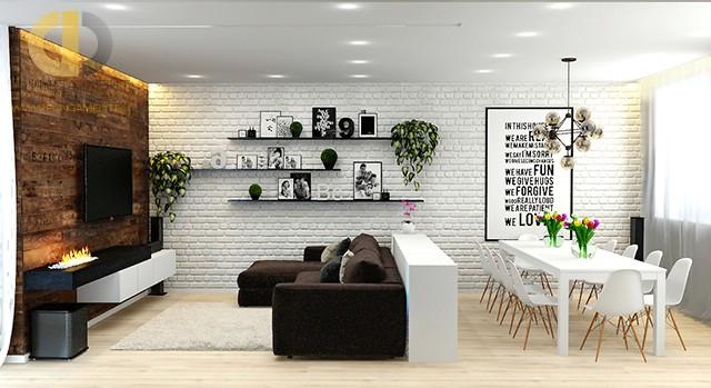 Дизайн гостиной-столовой в стиле лофт. Фото 2016