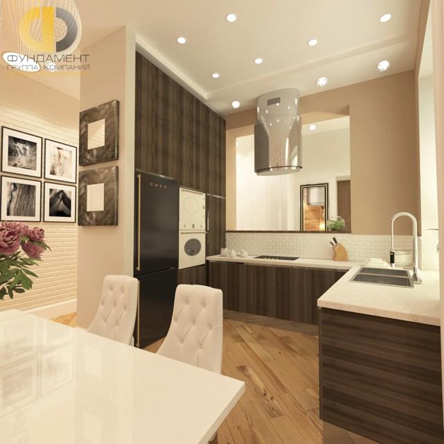 Дизайн кухни 10 кв. м с полом из паркетной доски. Фото новинок 2016