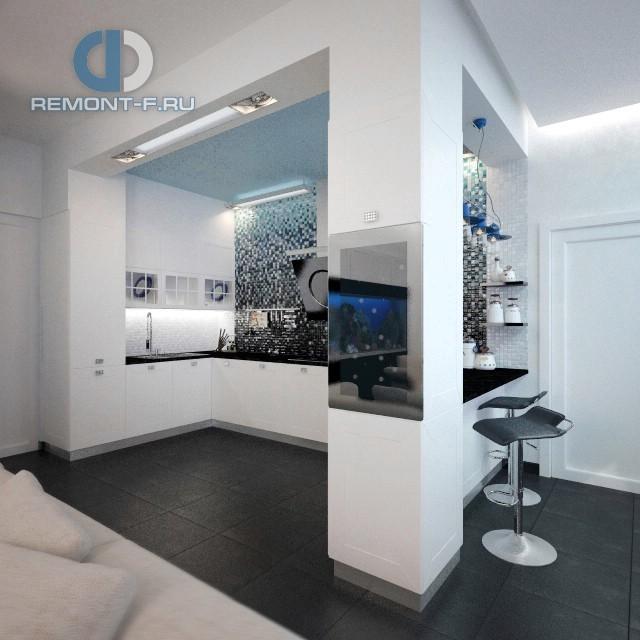 Интерьер кухни с барной стойкой в 4-комнатной квартире на Маломосковской