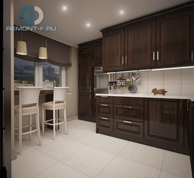Дизайн кухни 9 кв. м с барной стойкой. Фото интерьера 2016