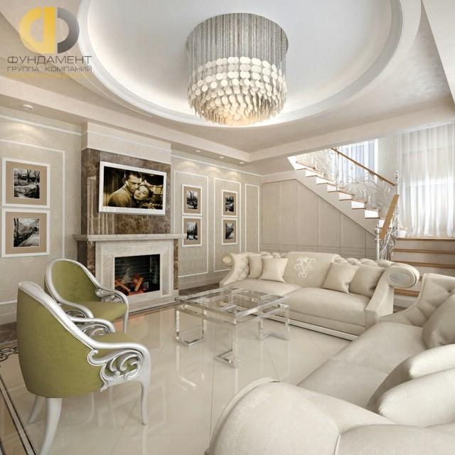 Современные идеи дизайна гостиной с камином. Фото дома