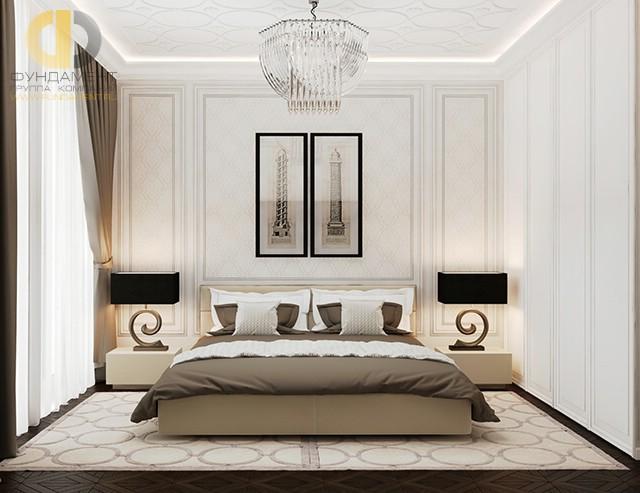 Дизайн белой спальни в стиле арт-деко в квартире на ул. Льва Толстого
