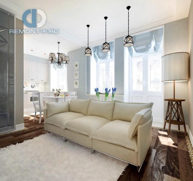Дизайн кухни-гостиной 25 кв. м в 3-комнатной квартире. Фото интерьера в стиле прованс