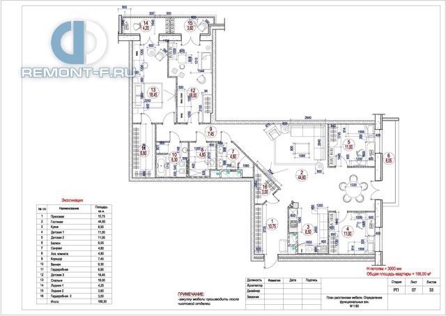 Рабочий чертеж дизайн-проекта квартиры 160 кв. м (план расстановки мебели)