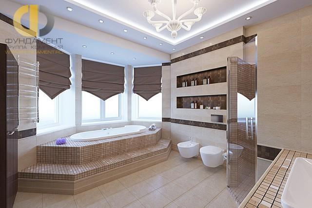 Отделка ванной комнаты плиткой: фото. Дизайн ванной с подиумом в эркере