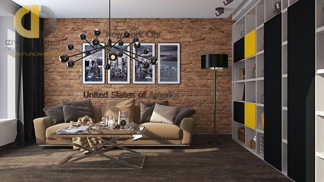 Современные идеи дизайна гостиной. Фото квартиры в стиле лофт в Мытищах