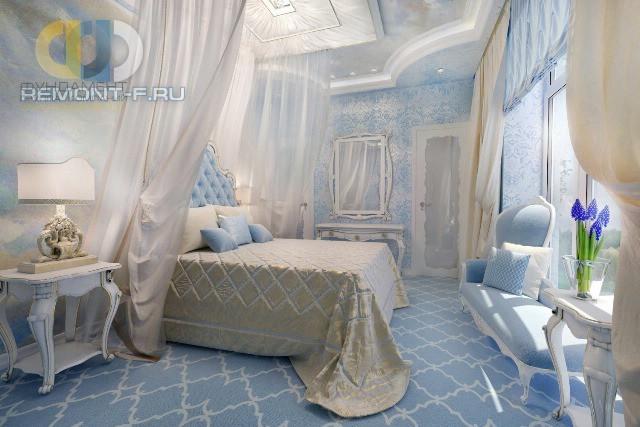 Дизайн спальни с роскошной кроватью, украшенной пологом