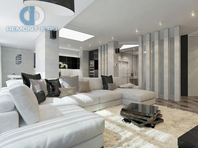 Модная гостиная в трехкомнатной квартире