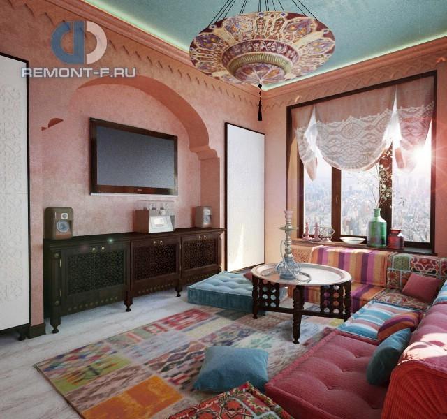 Дизайн гостиной в восточном стиле. Фото квартиры