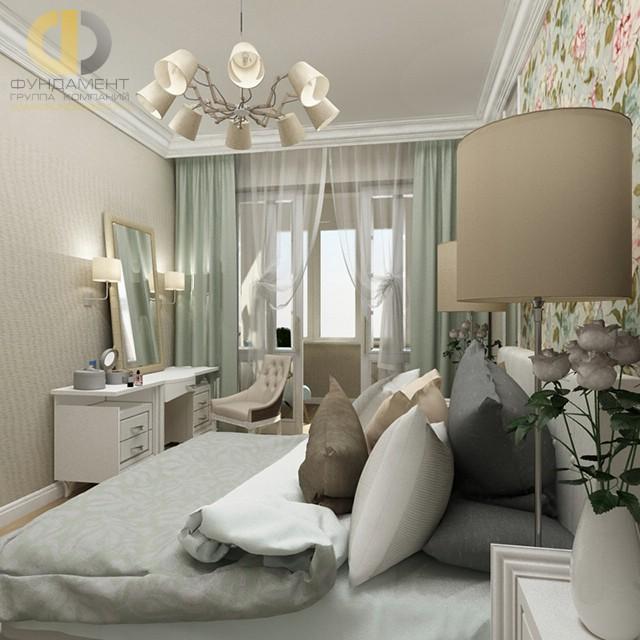 Дизайн спальни 12 кв. м в современном стиле. Фото интерьера с цветочными мотивами
